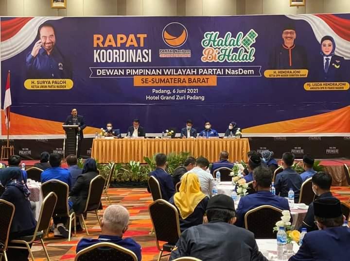 Ketua DPW NasDem Sumbar Hendrajoni Buka Rakor dan Halal bi Halal Bersama 19 DPD Se Sumbar