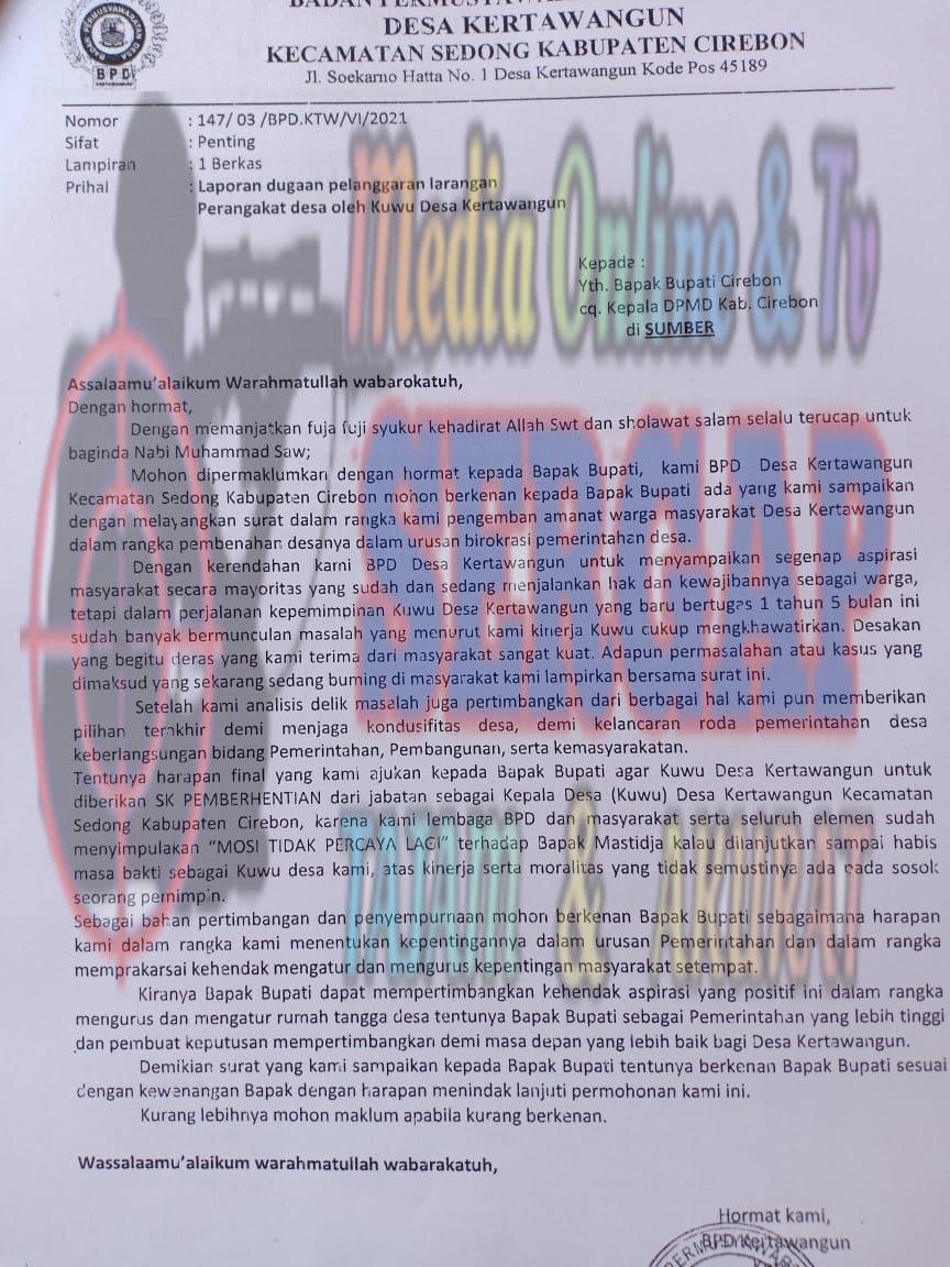 Kuwu Kertawangun Dilaporkan ke Bupati, BPD Keluarkan Mosi Tidak Percaya
