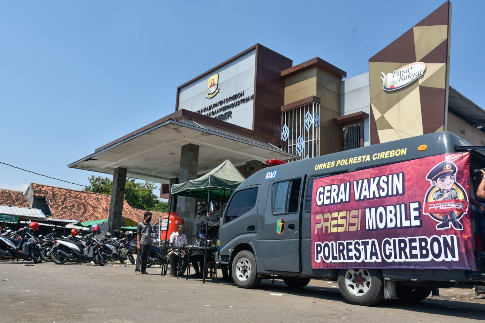 Sejumlah Pasar Tradisional Jadi Sasaran Gerai Vaksin Presisi Mobile Polresta Cirebon